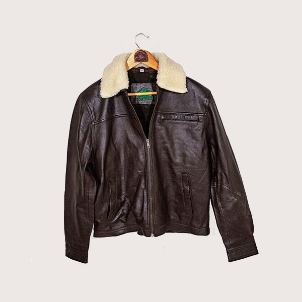 Leather Jacket with Wool Collar
